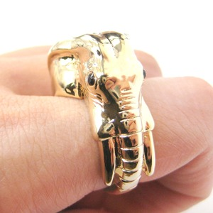 Realistic Elephant Head Animal Ring in Shiny Gold - Sizes 7 to 9 Available