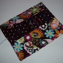 Crochet Hook Case Brown Flowers