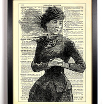 Image of Woman In The Wind, Vintage Dictionary, 8 x 10