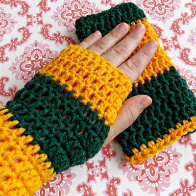 Fingerless Gloves Crocheted -Green Bay Packers/John Deere Inspired