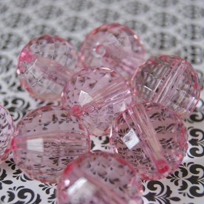 22mm bubblegum clear faceted lite pink chunky beads