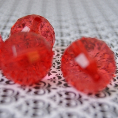 22mm bubblegum clear faceted red chunky beads