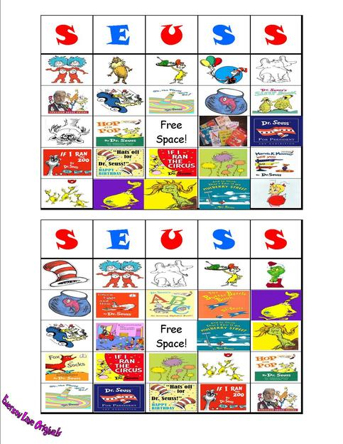 Dr Seuss Cat in the Hat BINGO Cards on Storenvy