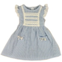 Lace Smocked Farmhouse Vintage Shabby Chic Cotton Blue Gingham Dress Vintage