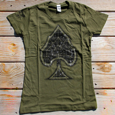 Spider webs t-shirt - womens - olive