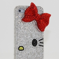 Swarovski Crystal Kitty Red Bow Case