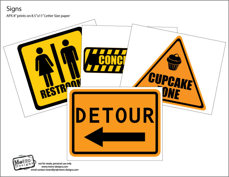 photograph relating to Free Printable Construction Signs known as Composition Occasion Indications - 30qty against Metro-Activities Get together Products