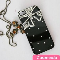New Bling Sparkle Crystal Black Bow Rhienstones Black iPhone 4s iPhone 5 Case Cover