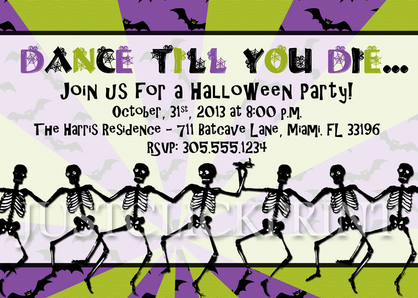 Dancing Skeletons Halloween Party Invitation Printable · Just ...