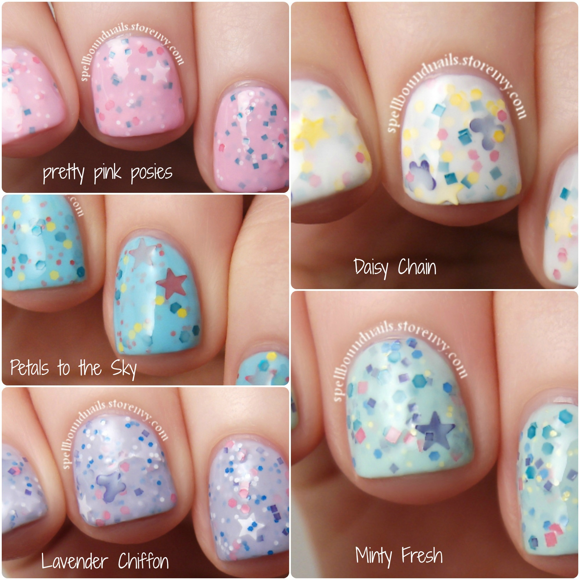 MINI - Spring 2014 Collection - Custom Pastel Glitter Crelly Nail Polish from Spellbound Nails