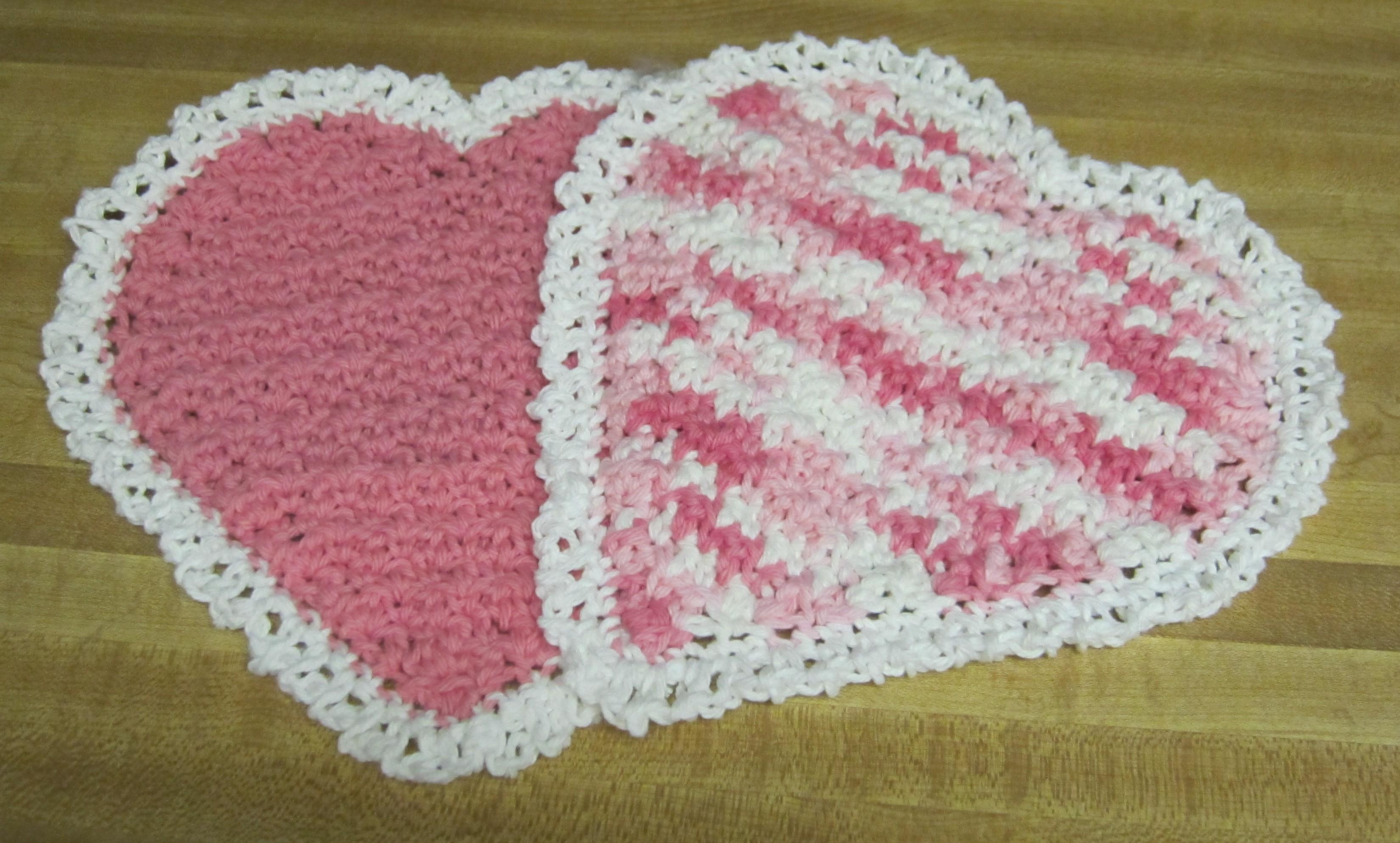 Crochet Dishcloth/Washcloth 100% Cotton Multi Color Heart ...