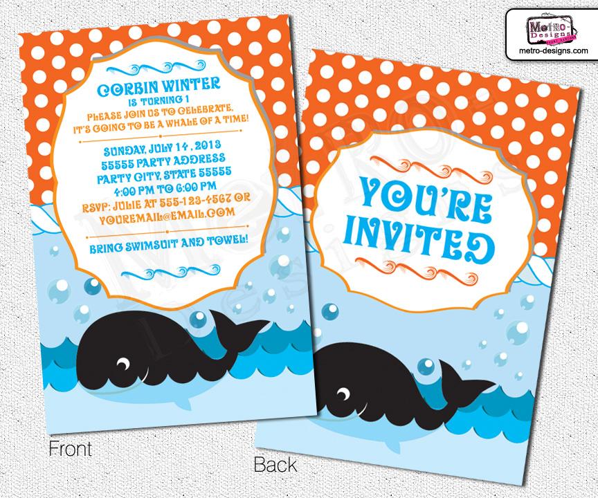 Whale Invitations First Birthday Invitations Ocean Invitation
