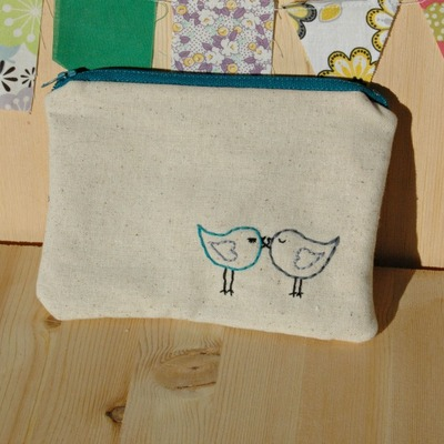 Just stitched love birds zippies