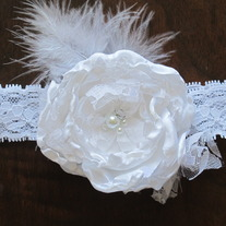 White Satin and Lace headband