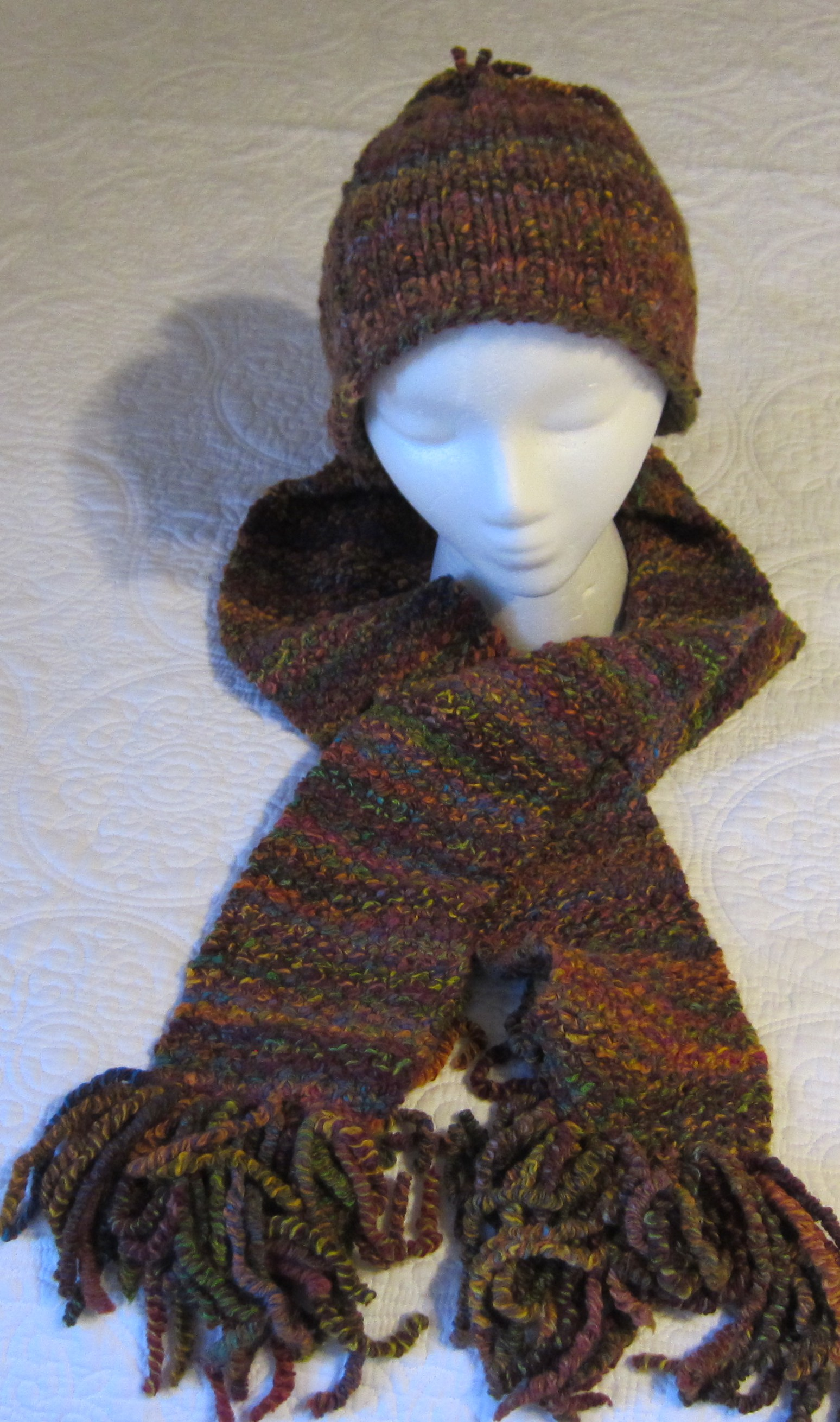 Knitting Patterns For Girls Cardigans : Knitted Scarf and Crochet Hat Set in Curly Q Yarn Multi Color in Crayon Very ...