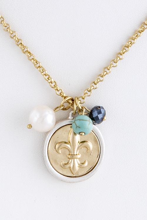 Fleur De Lis Relief Charm Necklace Set Sparkling Shimmers By