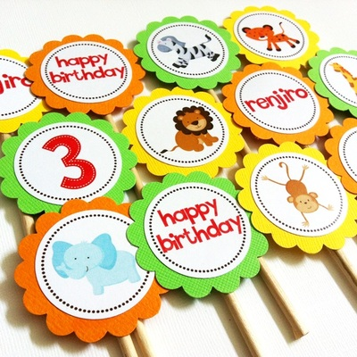 Wild Safari Animals Cupcake Toppers