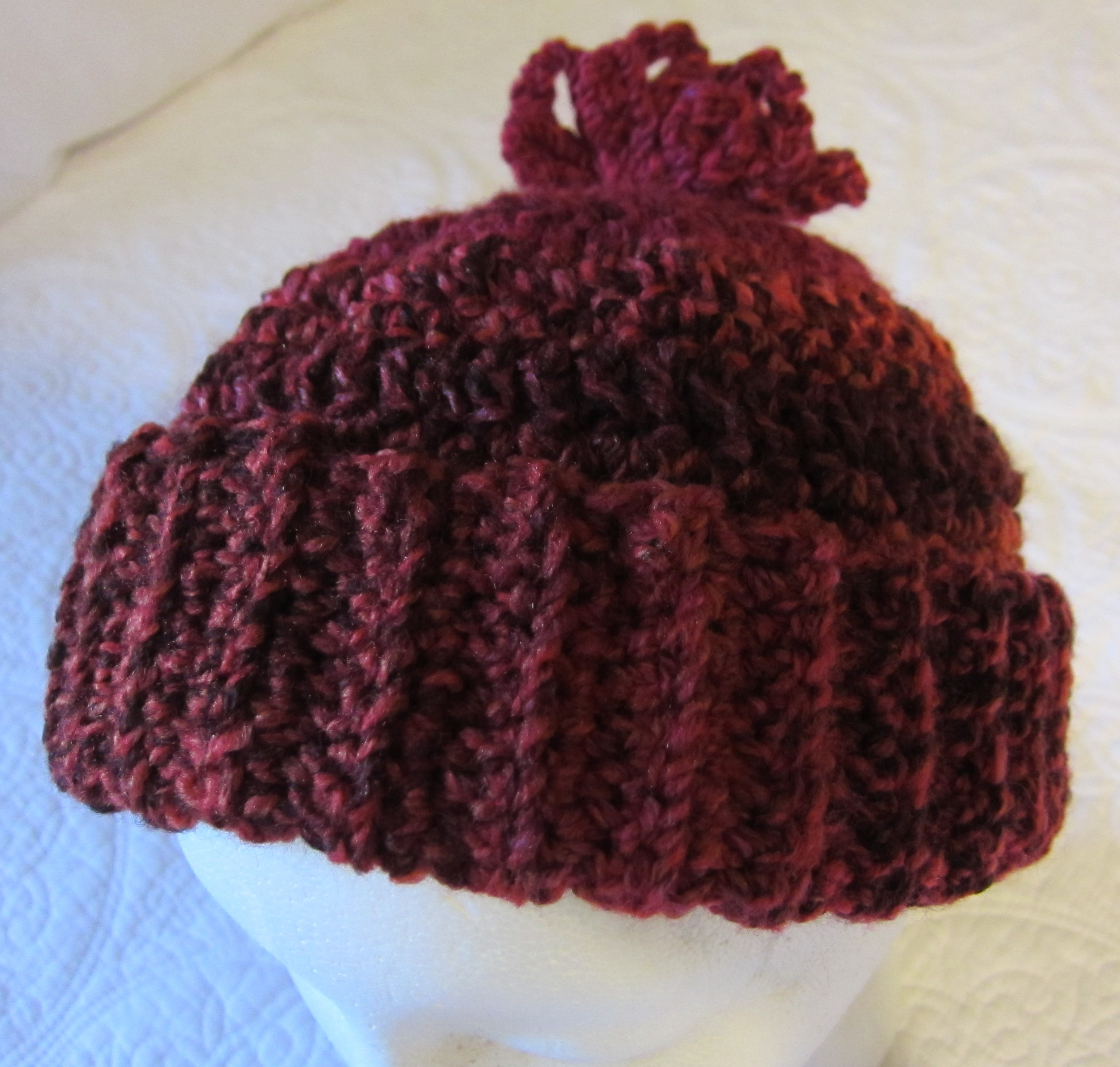 Crochet Hat in Red Tweed/Cool Curly Q Yarn !!!For The Next Month All ...