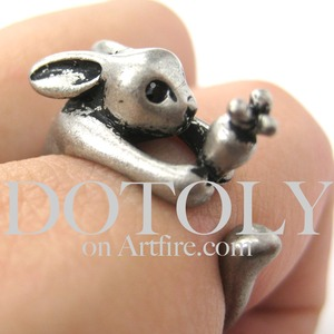 Miniature Bunny Rabbit Carrot Animal Wrap Ring Silver - Sizes 4 to 9