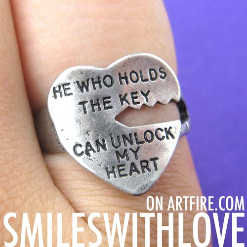 love quote key ring silver he who holds the key can