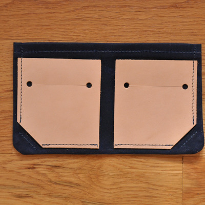 Bifold wallet - navy waxed canvas + leather