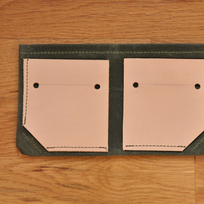 Bifold wallet - olive waxed canvas + leather