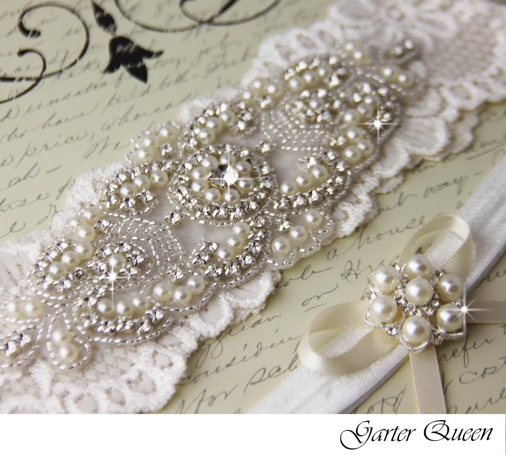 Wedding garter set, Cream Ivory stretch lace Bridal Garter set ...