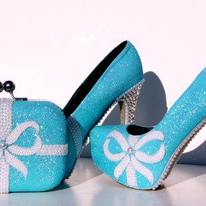 Tiffany blue glitter heels with swarovski crystals and pearls with tiffany blue glitter heels with swarovski crystals and pearls with matching clutch thumbnail 3 junglespirit Gallery