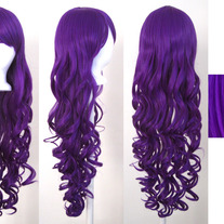 "29"" Long Curly Purple Wig with Bangs"