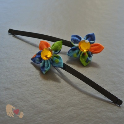 Sweetie Blue and Orange Kanzashi Flower Hairpins
