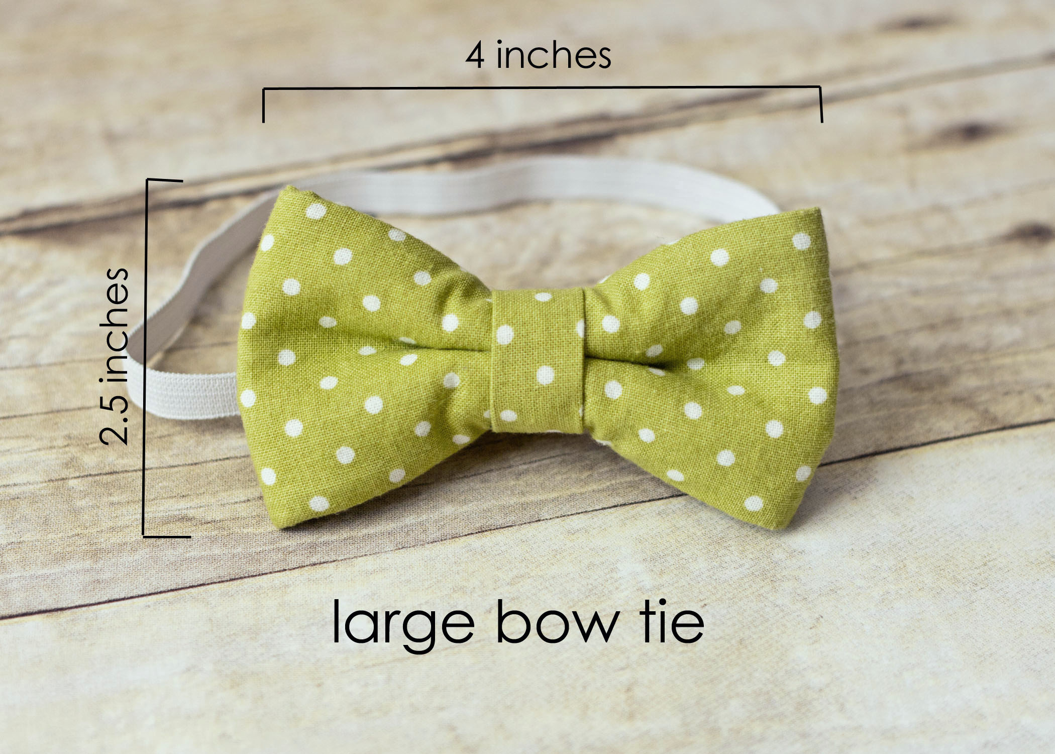 boy bow tie with elastic green and white polka dot bow