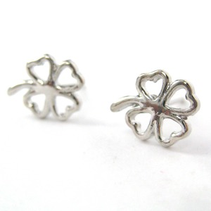 Four Leaf Clover Floral Cut Out Stud Earrings in Silver