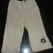 Khaki Corduroy Pants with Brown Flower-Young Hearts Size 12 Months