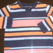 Navy/Pink/Orange Stripe Shirt-Ralph Lauren Size 3T