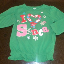 Green Christmas Shirt-I Love Santa-24 Months