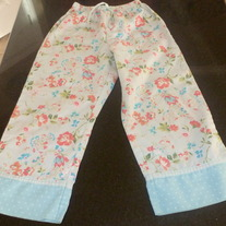 Blue PJ Pants with Flowers-Gap Kids Size 4