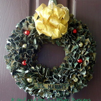 Holiday USMC Woodland Cammie Wreath