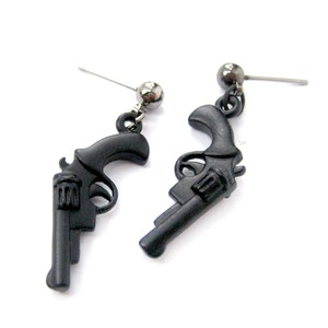 Detailed Revolver Gun Pistol Shaped Small Dangle Stud Earrings in Black