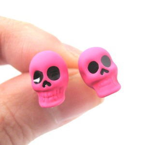 Rocker Chic Emo Skull Shaped Skeleton Themed Stud Earrings in Neon Pink