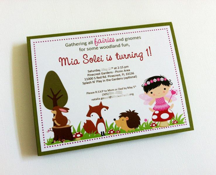 fairy and woodland animals invitation for birthday or baby