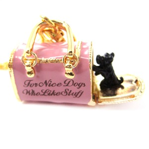 Limited Edition Pink Dog Carrier Shaped Pet Themed Pendant Necklace