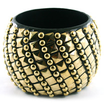 Black and Gold Studded Bracelet