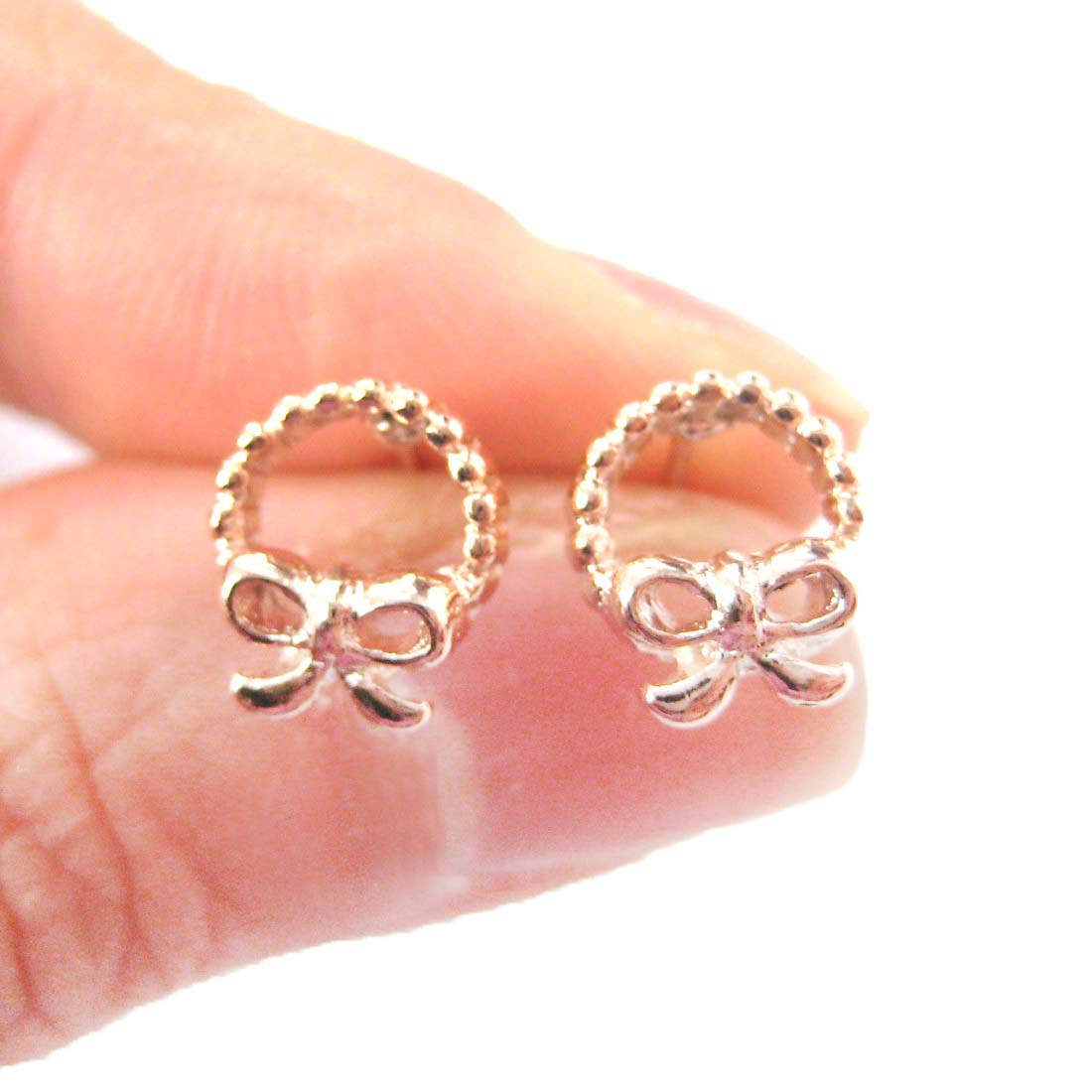 Classic Wreath and Bow Tie Shaped Round Stud Earrings in Rose Gold ...