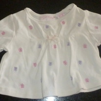 White LS Top with Pink/Purple Butterflies-All Mine Size 6-9 Months