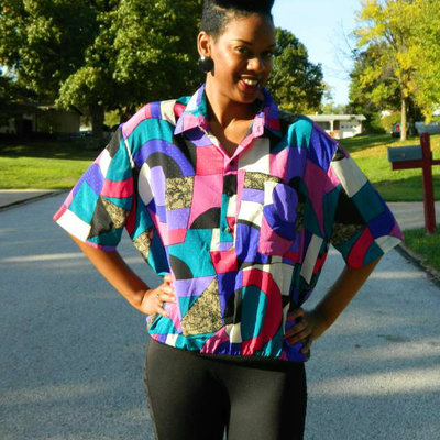 Vintage multicolor short sleeve blouse