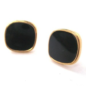 Simple Round Square Stud Earrings in Black on Gold
