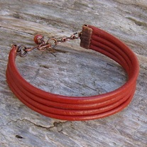 Red Leather Adjustable Bracelet