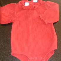 Red Long Sleeve Onesie with Ruffle-Baby Your It-Size 12 Months