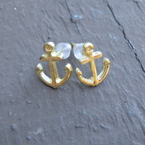 Small Gold Anchor Earrings