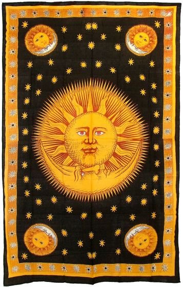 CELESTIAL Sun and Moon Stars 100% Cotton Hippie TAPESTRY Bedspread ...